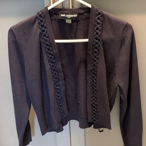 Karl Lagerfeld Navy Blue Cropped Cardigan Sweater